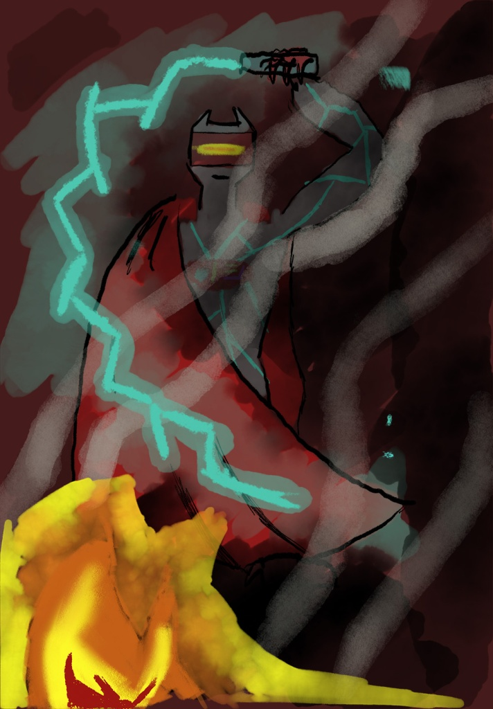 Science-fiction alien with electric whip in burning environment